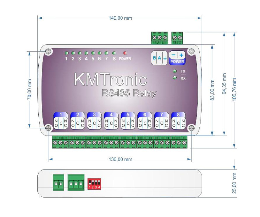 KMtronic 8 Relay Dimension