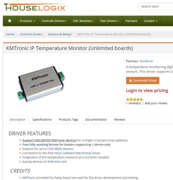 Houselogix IP Driver for KMtronic Temperature Monitor