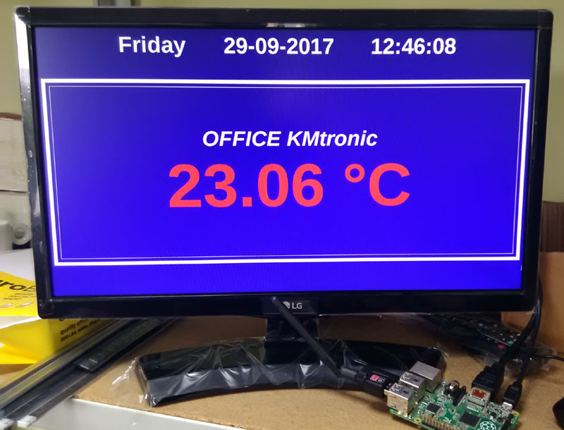 Test display temperature from KMtronic Temperature Monitor on TV with Raspberry PI