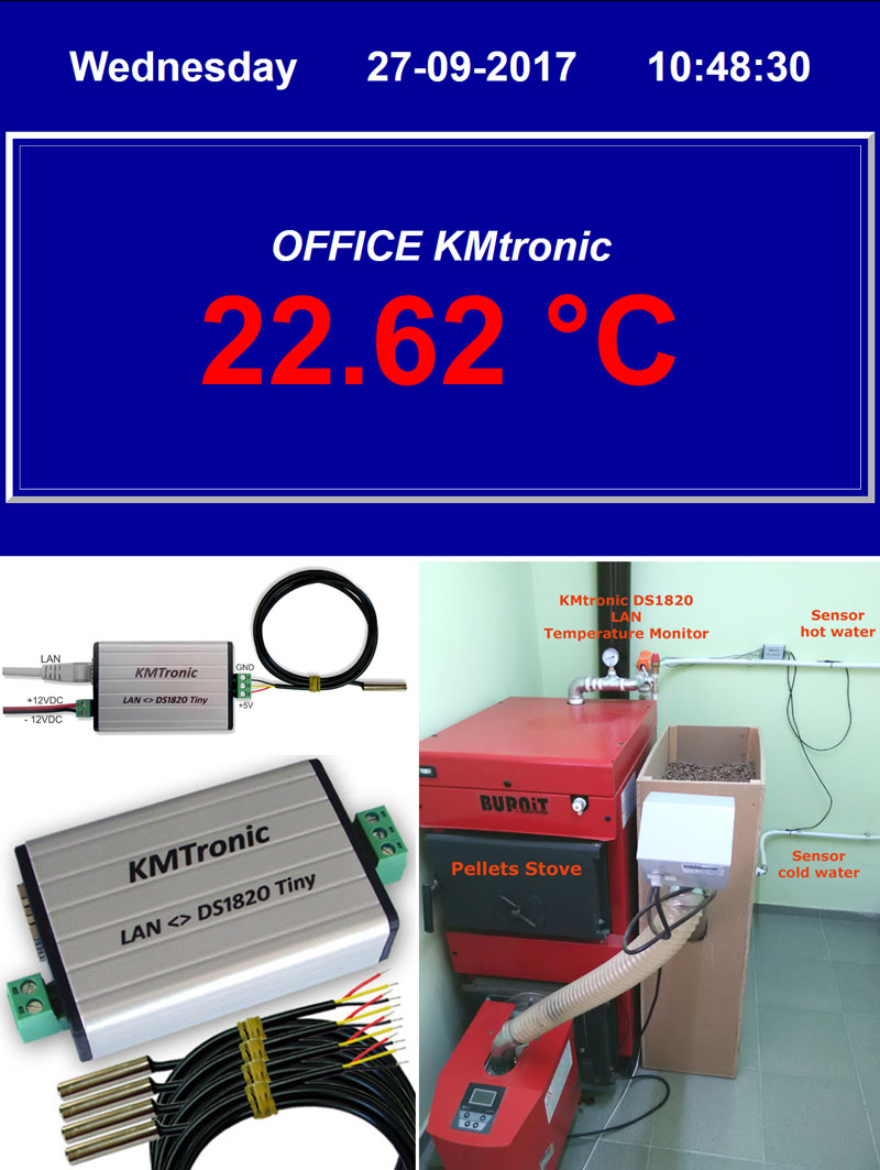 PHP file for display temperature from KMtronic Temperature Monitor