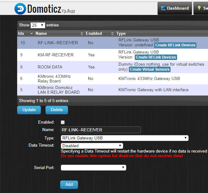 Add USB RFlink Gateway to Domoticz Home Automation System