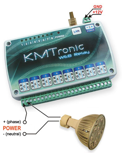Connect a lamp to KMtronic Relay board and control using Domoticz or other automation software.