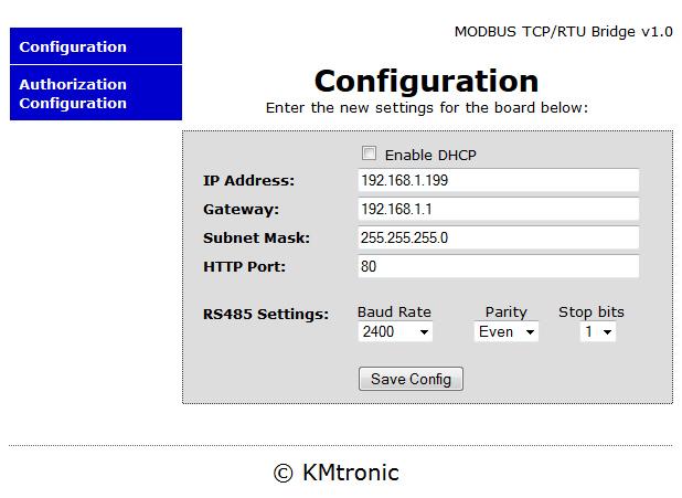 KMtronic Modbus RS485 RTU Serial to Modbus LAN TCP/IP Module Converter