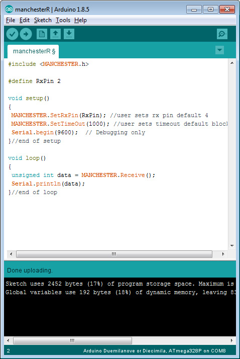 Arduino Manchester encoding library for RF links