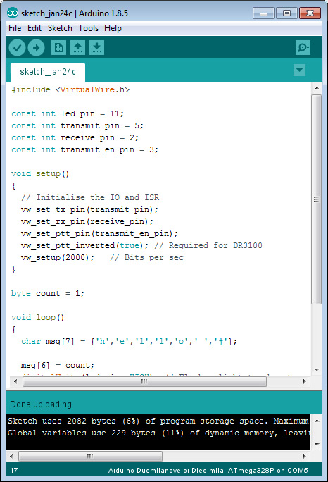 Testing Arduino VirtualWire Library Transmit and Receive – Add