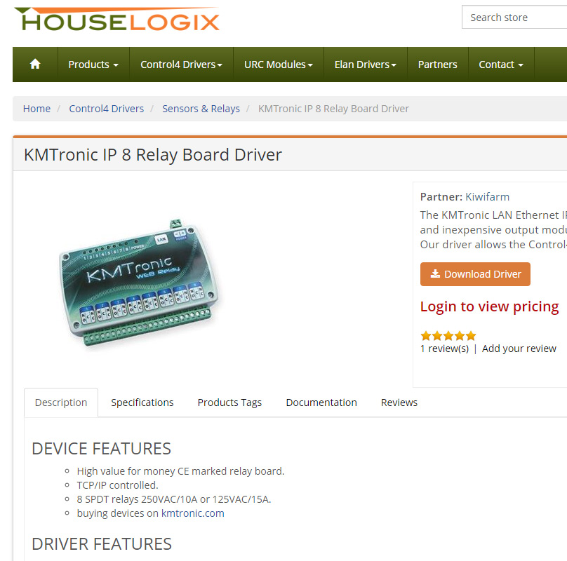 KMtronic Houselogix drivers for Control4