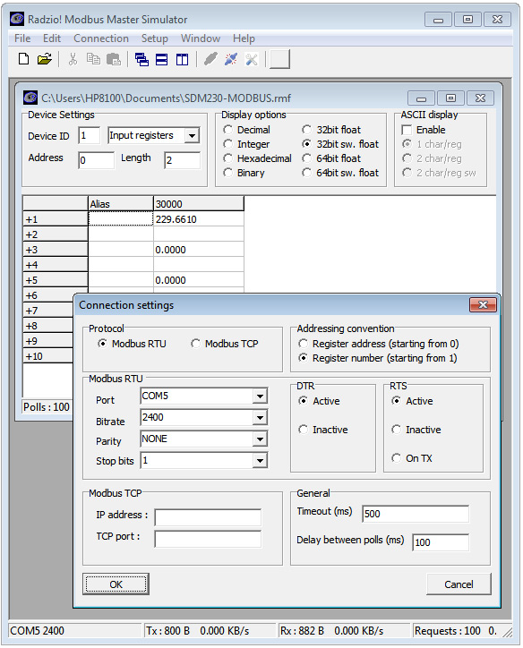 TestingRadzio Modbus Master Simulator with KMtronic RS485 RTU Serial Converter