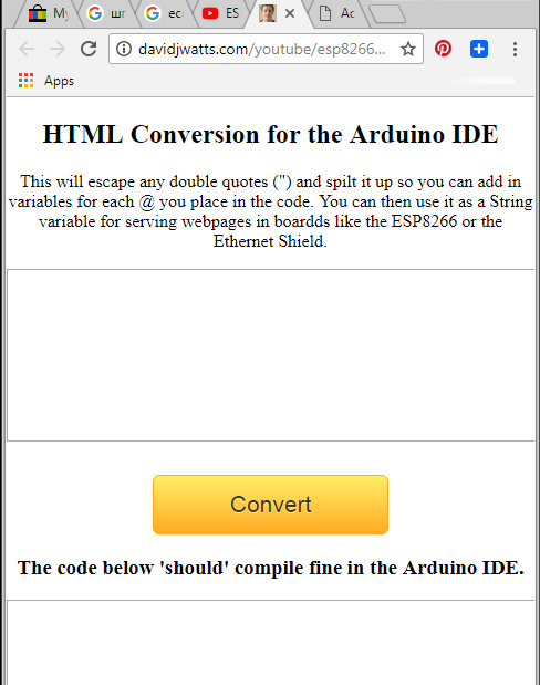 HTML Conversion for the Arduino IDE