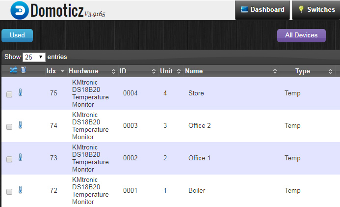 Domoticz: KMtronic LAN DS18B20 WEB Temperature Monitor
