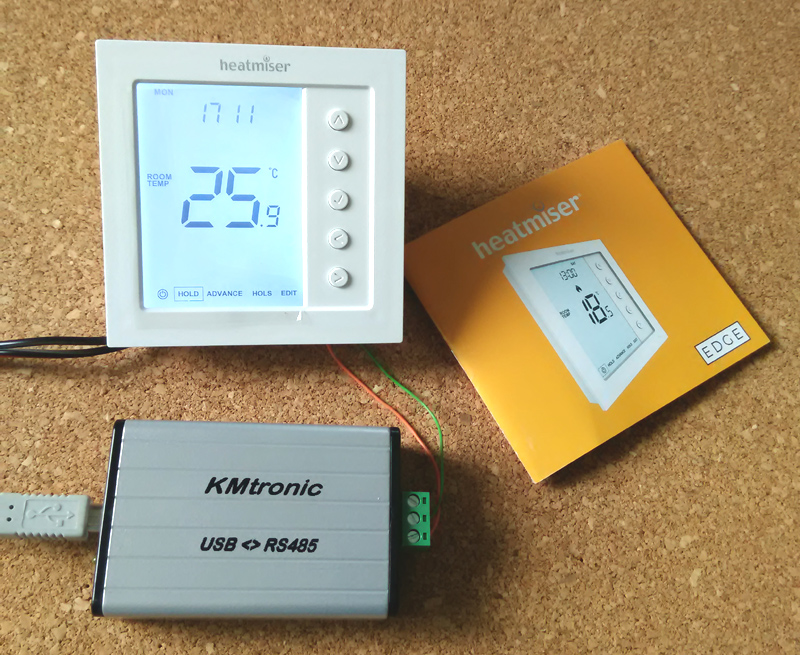 Testing Heatmiser EDGE ModBus Thermostat with ModbusMAT freeware program and KMtronic USB<>RS485 adapter