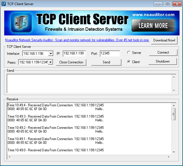 KMtronic LAN TCP/IP to RS485 Serial Converter: Receiving data using TCP Client Server software