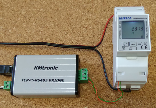 Monitoring monitor SDM230 Modbus Smart Meter using Domoticz and KMtronic LAN TCP/IP to Modbus RS485 RTU Serial Converter