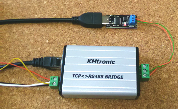 Testing KMtronic LAN TCP/IP to RS485 Serial Converter