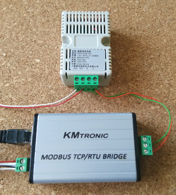 PKTH100B temperature and humidity sensor 485 communication transmitter MODBUS RTU and KMtronic LAN TCP/IP to Modbus RS485 RTU Serial Converter