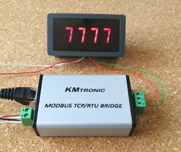 Python examples KMtronic Modbus LAN TCP/IP to Modbus RS485 RTU Serial Converter: testing MODBUS LED Display