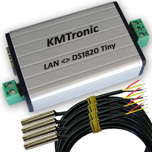 KMtronic LAN DS18B20 WEB Temperature Measuring Monitor 4 Sensors Complete
